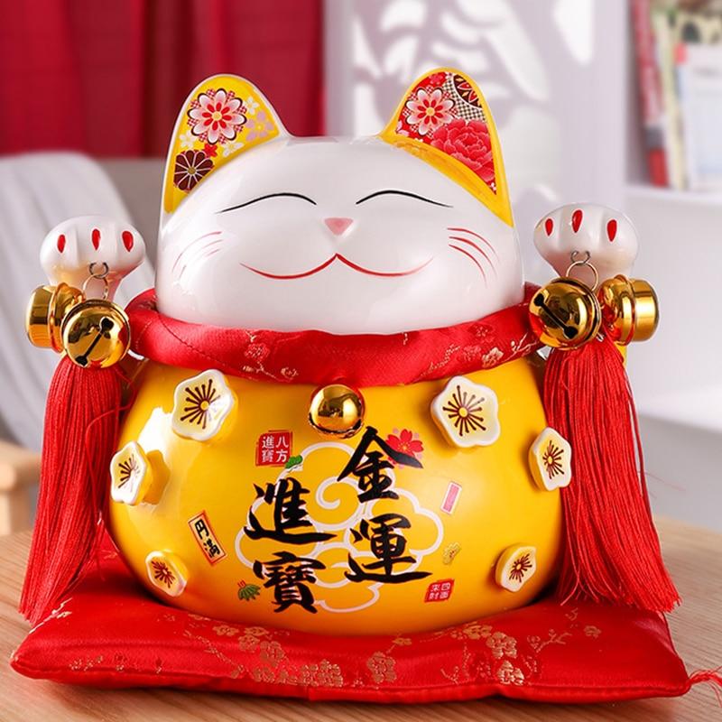4/6 inch Ceramic Maneki Neko Piggy Bank Creative Home Decoration Porcelain Ornaments Business Gifts Lucky Crafts Lucky Cat Gifts