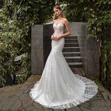 Glamorous Mermaid Wedding Dress  Sweep Train Shinny Tulle Strapless Gothic Bridal Gowns 2021 New Arrival Formal Bride Vestidos