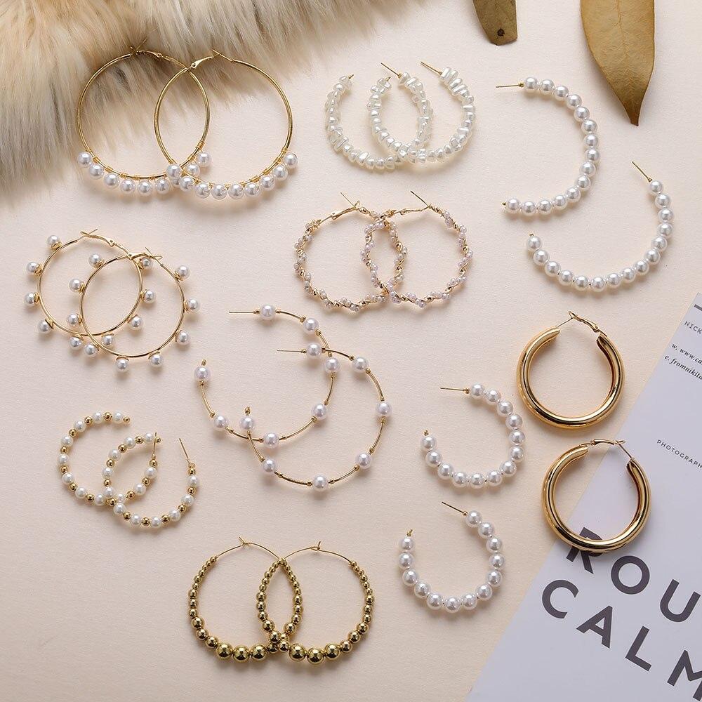 ZOVOLI жемчужные Золотые Большие серьги-кольца для женщин геометрические массивные серьги круги из бисера модные роскошные корейские ювелирн...