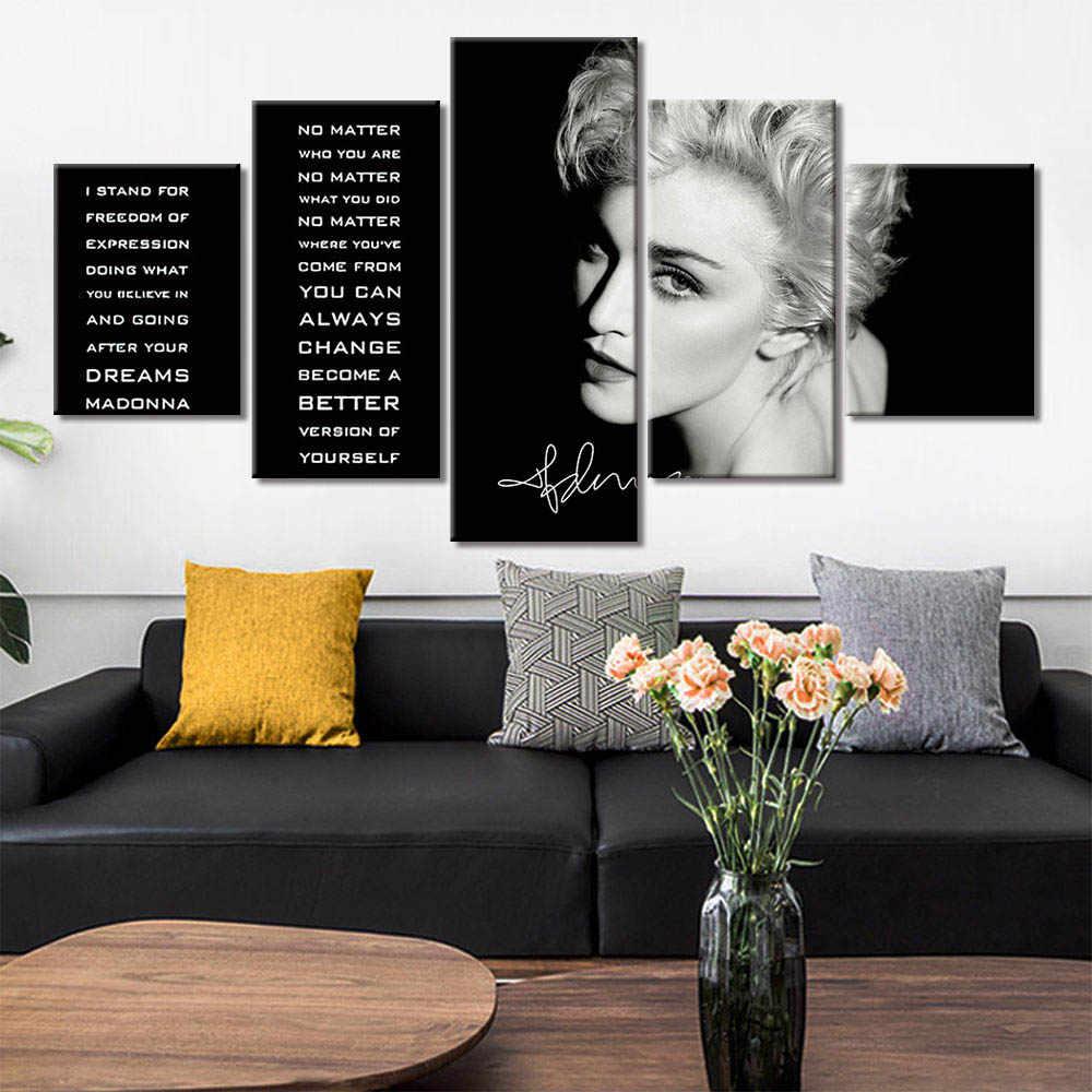 Pittura Famoso Ritratto di Grande Poppa-Malcolm Conor-Mcgregor-Madonna-Ernest-Kobe Popolare Modulare Immagini 5 pannelli della Tela di canapa Poster