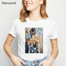 Vintage t shirt women painting sexy Pretty back print t-shirt camisetas mujer aesthetic clothes abstract vogue tshirt femme tops недорого
