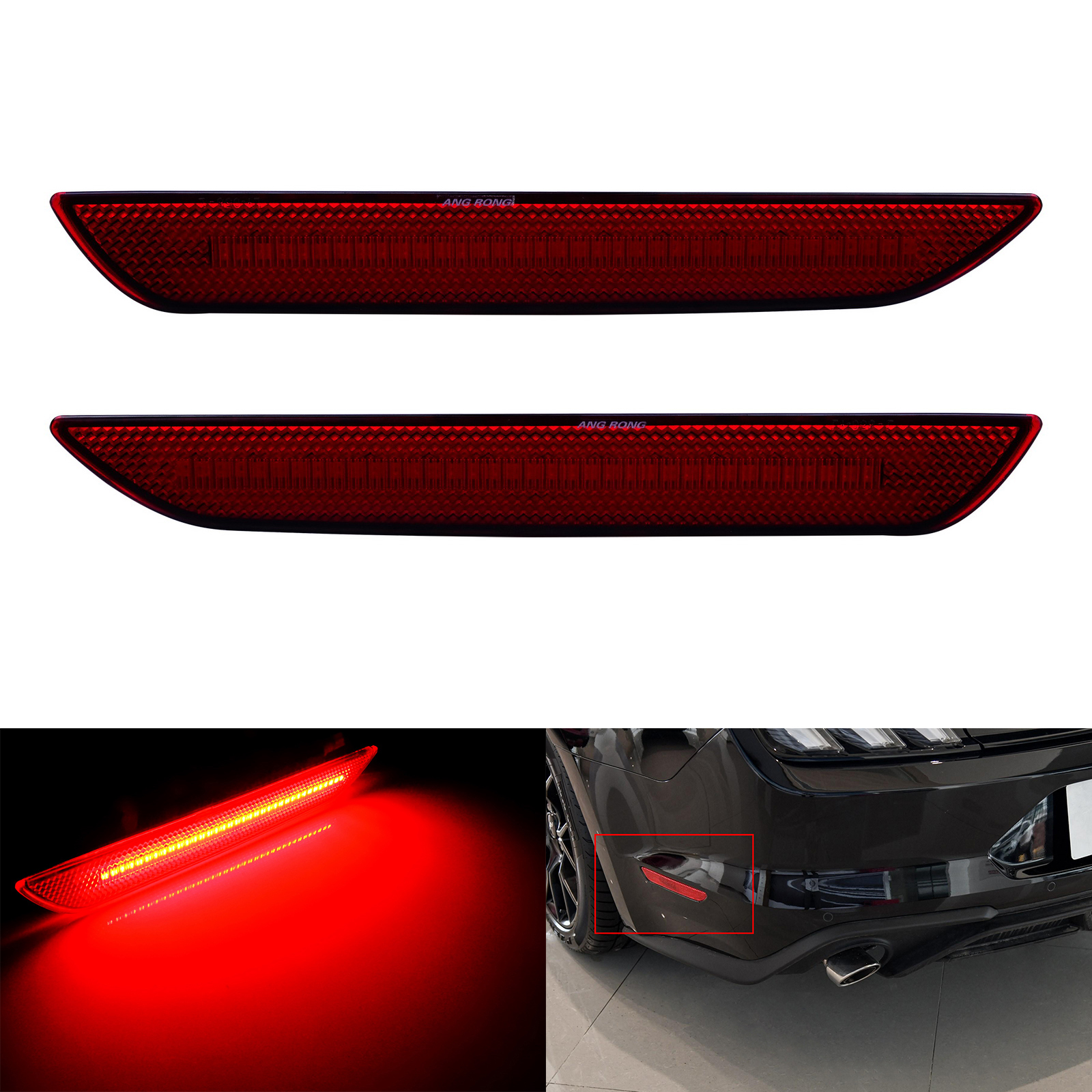 2x For Ford Mustang 2015+ Rear LED Side Marker Bumper Reflector Light Lamps Red Lens