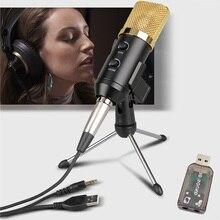 Microfono a condensatore per Computer Audio cablato 3.5mm Studio cardioide Pick Up Mic con supporto per treppiede e adattatore Audio USB F100TL