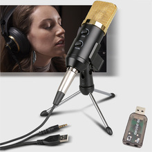 הקבל מיקרופון עבור מחשב Wired אודיו 3.5mm סטודיו Cardioid איסוף מיקרופון עם חצובה Stand ו usb אודיו מתאם F100TL