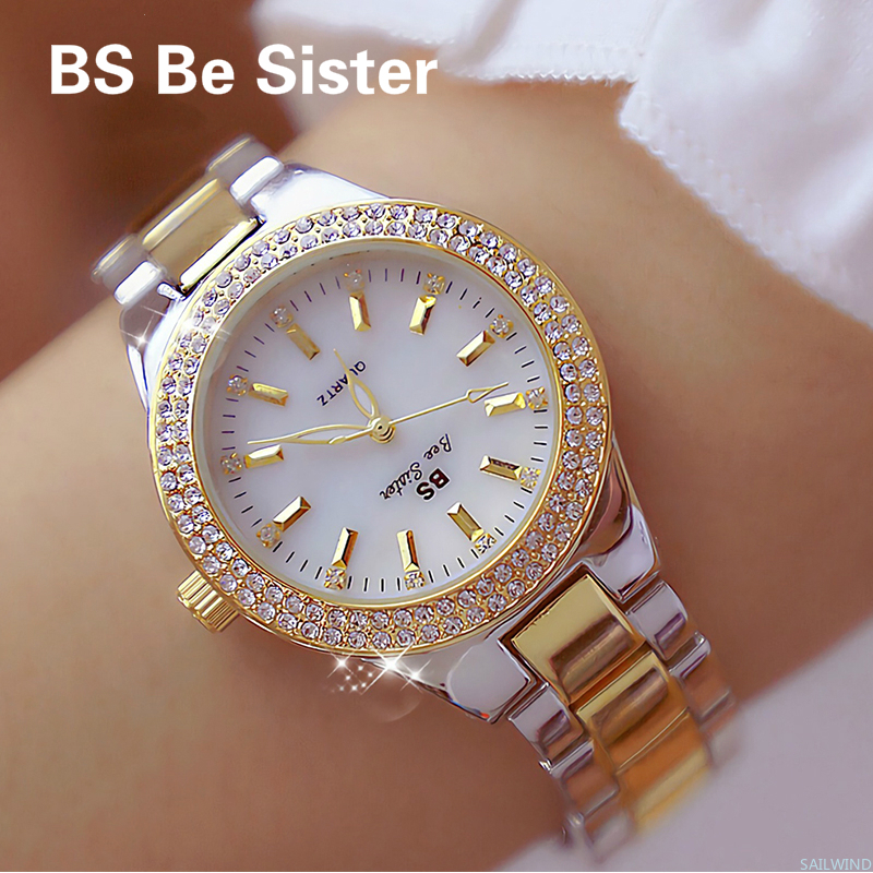 2019 Ladies Wrist Watches Dress Gold Watch Women Crystal Diamond Watches Stainless Steel Silver Clock Women Montre Femme 2018