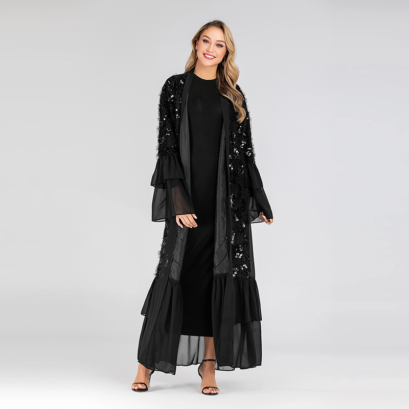 Sequin Open Abaya Kimono Dubai Muslim Dress Abayas For Women Hijab Dress Islam Moroccan Kaftan Turkish Islamic Clothing Caftan