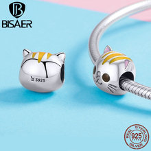 BISAER Diy Charms 100% 925 Silver Cute Cat Beads Charms For Original Pan Bracelet GXC1142 For Women Fashion Accessories GXC1142 charms beads 100