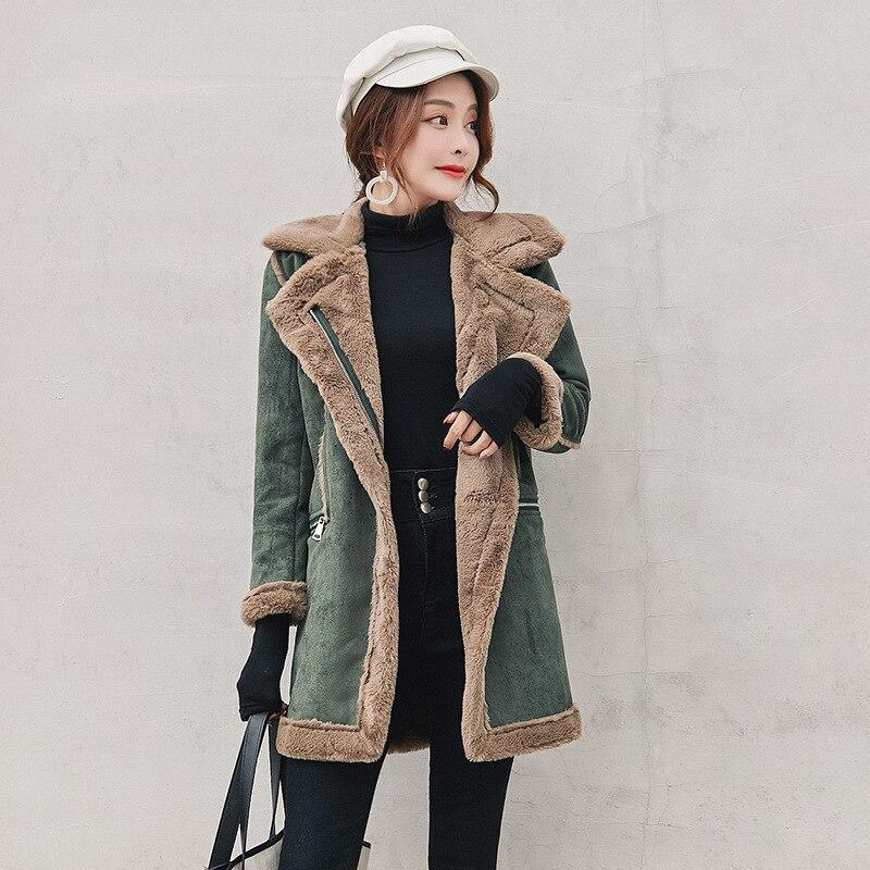 Winter Long Faux Suede Leather Jacket Women Plus Size Female Green Faux Fur Lined Suede Jacket Woman Coat Large Windbreaker