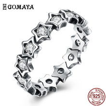 Романтическое циркониевое кольцо gomaya с серебряными звездами