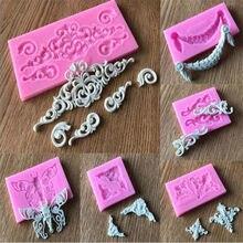 3Dクラフトバロックスクロール救済シリコーン型ケーキデコレーションツールフォンダンチョコレートキャンディgumpasteモールドウエディングカップケーキフレームベーキング