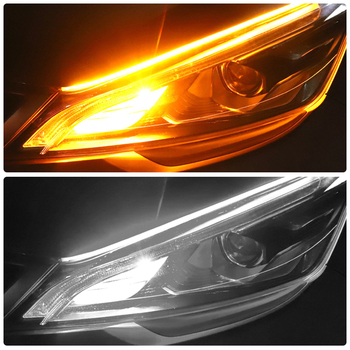 2 Pcs Turn Signal Light For BMW E46 E60 E90 E30 E92 F30 E36 E39 F20 F10 1 3 5 7 Series Car Flexible DRL Flowing Amber Day Light image