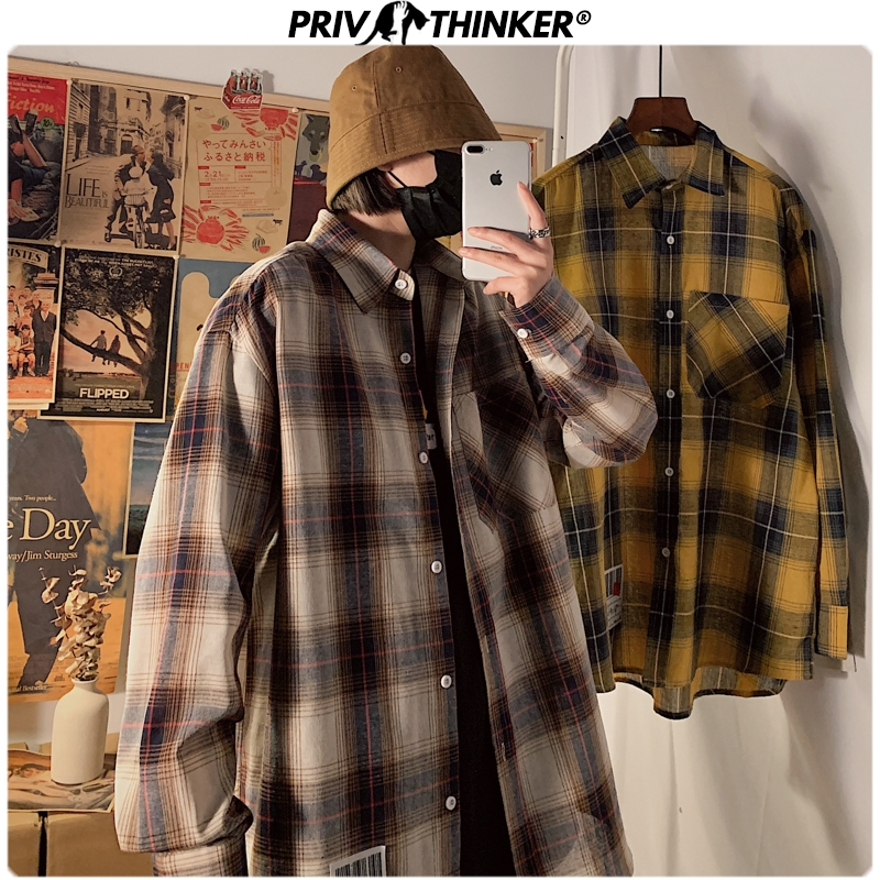 Privathinker Men's Spring Plaid Shirts 2020 Men Fashion Harajuku Long Sleeve Blouse Streetwear Loose Tops New Male Casual Shirts