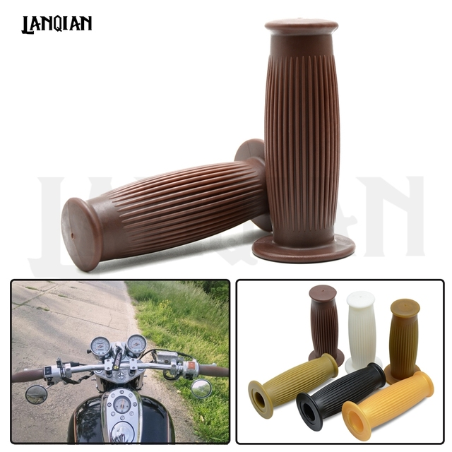 2018 Hot 1 pair Vintage Cafe Racer 1″ 25mm/28mm Motorcycle Handlebar Grip Grips For SPORTSTER IRON 883 1200 TRIUMPH Accessories