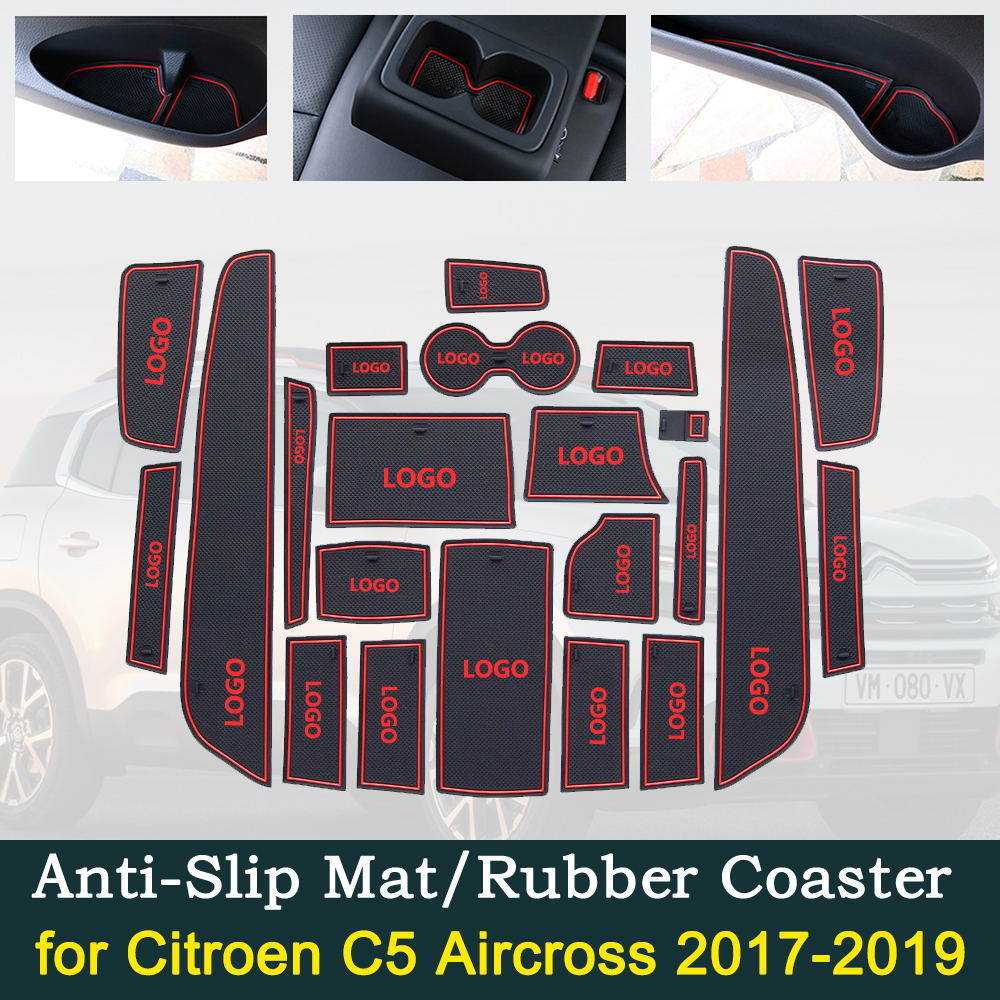 Anti-slip Door Rubber Cup Cushion For Citroen C5 Aircross 2017 2018 2019 C5Aircross Red Slot Groove Mat Car Interior Accessories