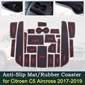 Anti-slip Tür Gummi Tasse Kissen für Citroen C5 Aircross 2017 2018 2019 C5Aircross Rot Slot Groove Matte Auto innen Zubehör