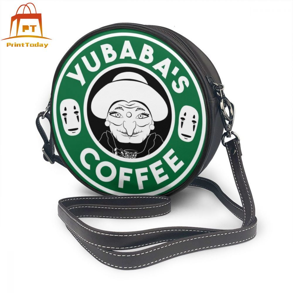 Ghibli Shoulder Bag Yubabas Coffee Leather Bag Teenage Pattern Women Bags Womens Trendy Crossbody High Quality Round Purse