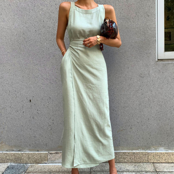CHICEVER Summer Sleeveless Solid Dress Women O Neck Off Shoulder High Waist Bandage Elegant Midi Dresses Female Fashion 2020 New 1