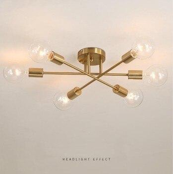 SANBUGM-lámpara moderna de hierro Sputnik, luz de techo dorada, luces satelitales, decoración...