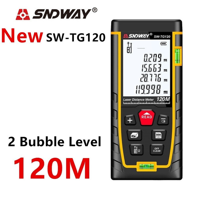 حساب البعد بالليزر ، مسطرة رقمية ، ترينا روليت, جهاز قياس المسافات بالليزر ماركة (SNDWAY) مسافات 120 متر 100 متر 80 متر 60 متر 40 متر