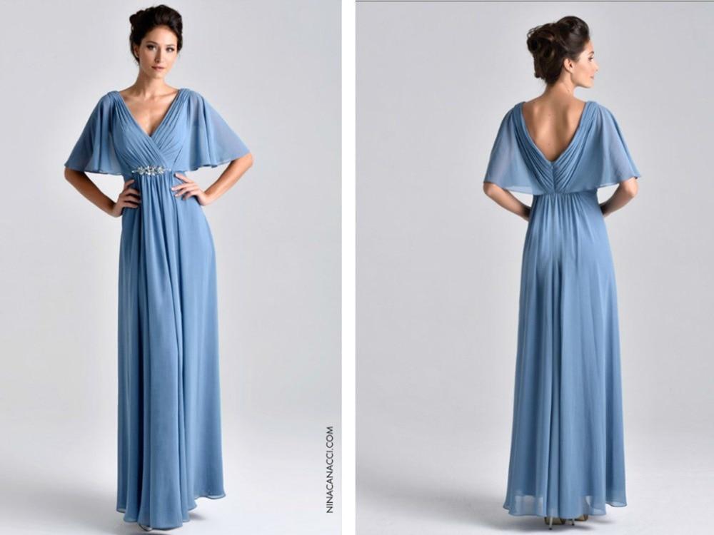 2016 New Fashion Vestido De Madrinha Festa Sexy V-neck Blue Chiffon Cheap Cap Sleeve Elegant Long Mother Of The Bride Dresses