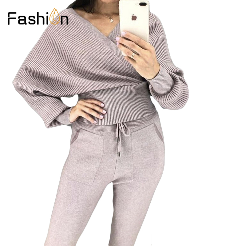 Women Winter Two Piece Set Knitted Warm Suit V Collar Sweater+Long Pants Knit 2 Piece Set Track Suit Sweatsuits Sets Outfits