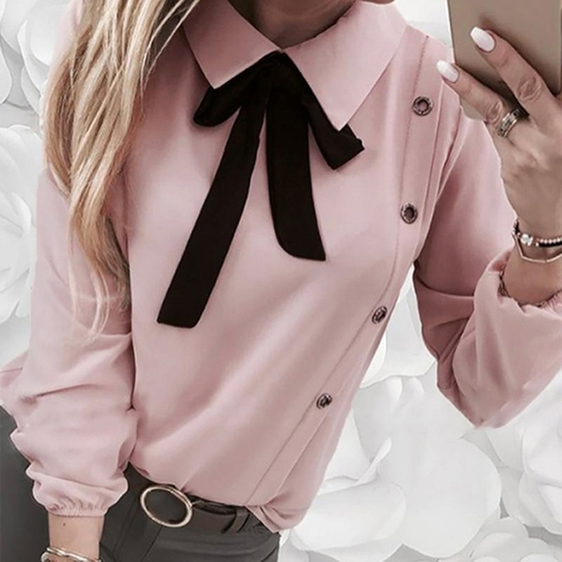 Ladies Button Shirt Women Tops Fashion Turn-down Collar Shirt Elegant Bowknot Decor Solid Color Blouse For Women