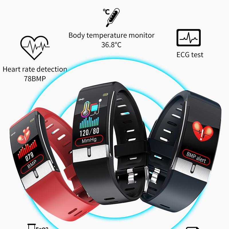 Смарт-часы E66 с измерением температуры тела, ЭКГ, ФПГ, пульсометром и кровяным фитнес-трекером, смарт-браслет для мужчин и женщин PK T1