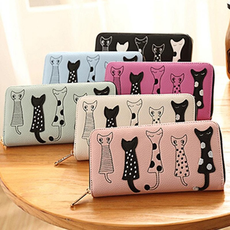 JODIMITTY Women's Wallet Cute Cat Wallet Bifold Long Purse With Zipper Coin Purse Long Purse