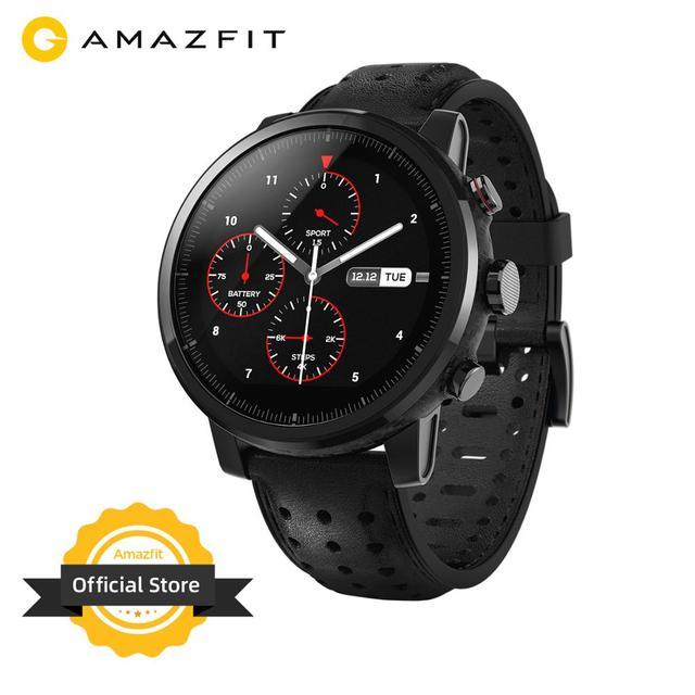 2019 새로운 Amazfit Stratos + 전문 스마트 워치 정품 가죽 스트랩 선물 상자 사파이어 2S 안드로이드 iOS 전화 번호
