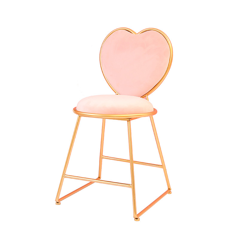 Modern Minimalist Creative Bedroom Princess Dressing Table Stool Nordic Back Makeup Chair European Wrought Iron Manicure Chair