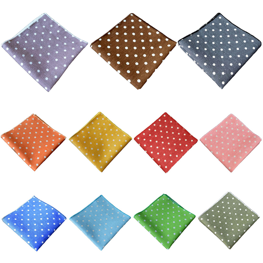Men Handkerchief White Polka Dots Hanky Wedding Party Business Pocket Square