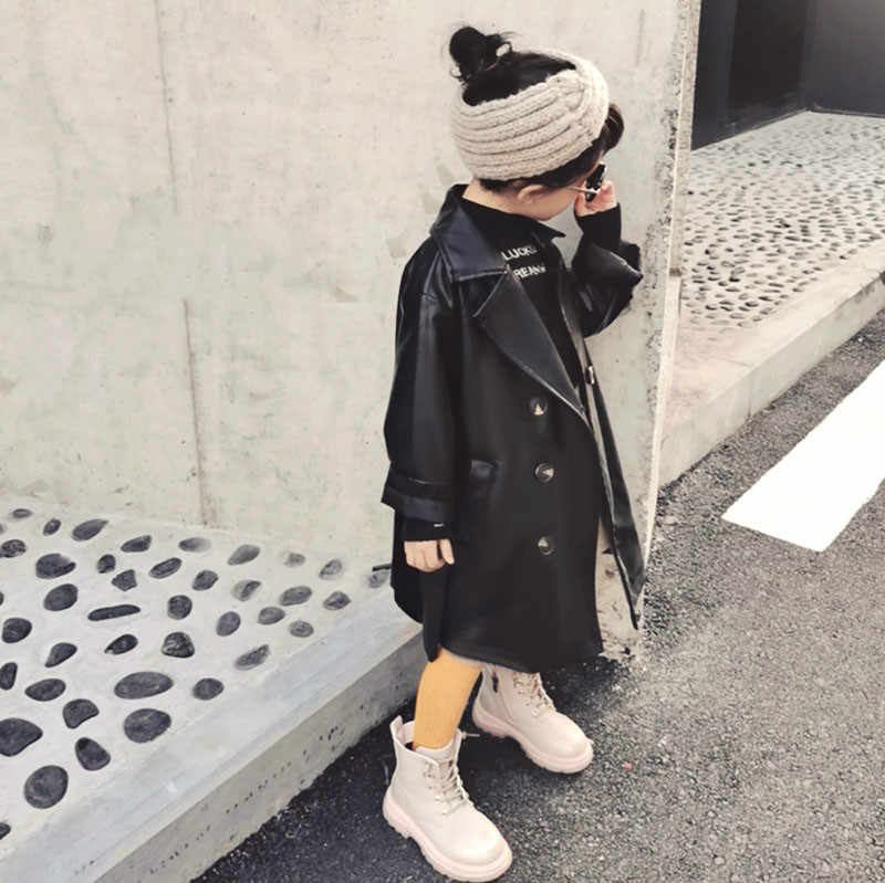 Leather Jackets for Girls Trench PU Leather Jackets for Boys Girls Coats Jackets for Girls Coat Long Children Leather Outerwear