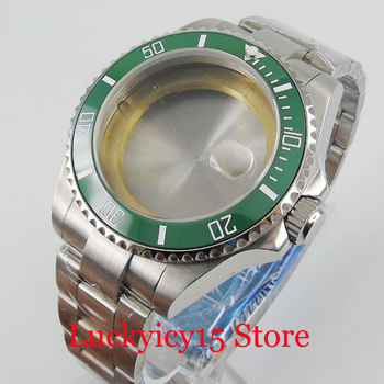 40mm Stainless Steel Watch Case with Sapphire Glass Ceramic Bezel  + Brushed Watch Band Fit ETA 2836 MIYOTA Movement