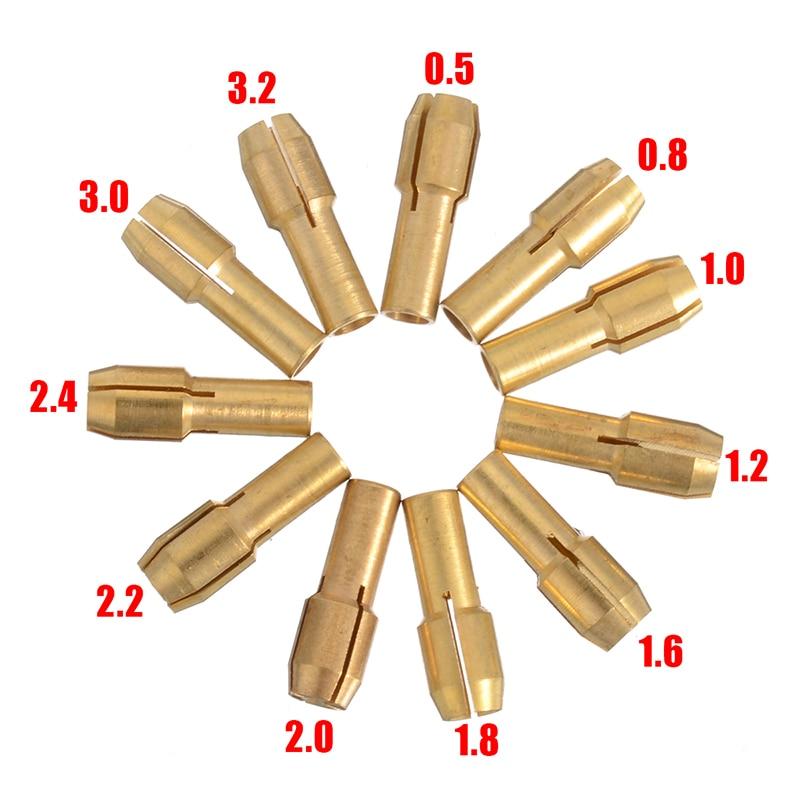 Mini 0.5mm-3.2mm Drill Brass Collet Chuck Bits /& M8 Keyless Chuck Rotary Tool