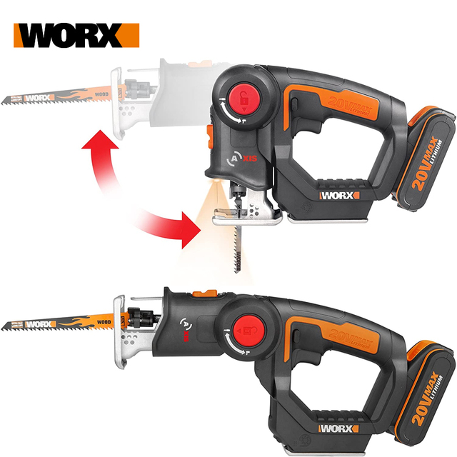 Worx 20V Electric Saw WX550 Cordless Reciprocating Saw jigsaw 2in1 Rechargeable Scroll Saw Multi purposed saw Handheld PowerTool 2