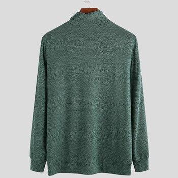 Camisas de cuello alto por el trasero para hombre, Jersey informal de manga larga de Color liso, camisetas de punto con cuello de pila de talla ee.uu./UE