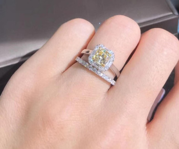 TRS260  Luxury jewelry 1Carat NSCD Simulated Gem engagemen ring sets for women