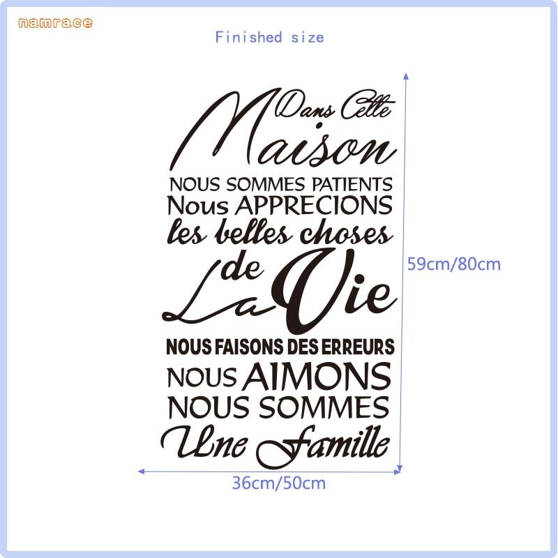 Etiqueta de la pared de vinilo extraíble francés Dans Cette Maison - Decoración del hogar - foto 6