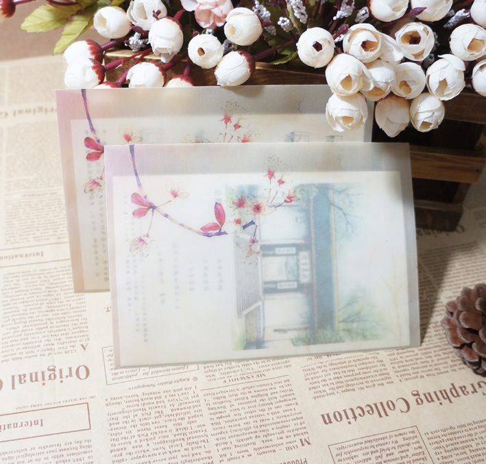 Sui Yue Fang Translucent Hazy Chinese-style Retro Sulfuric Acid Paper Envelope Of Spray Alice