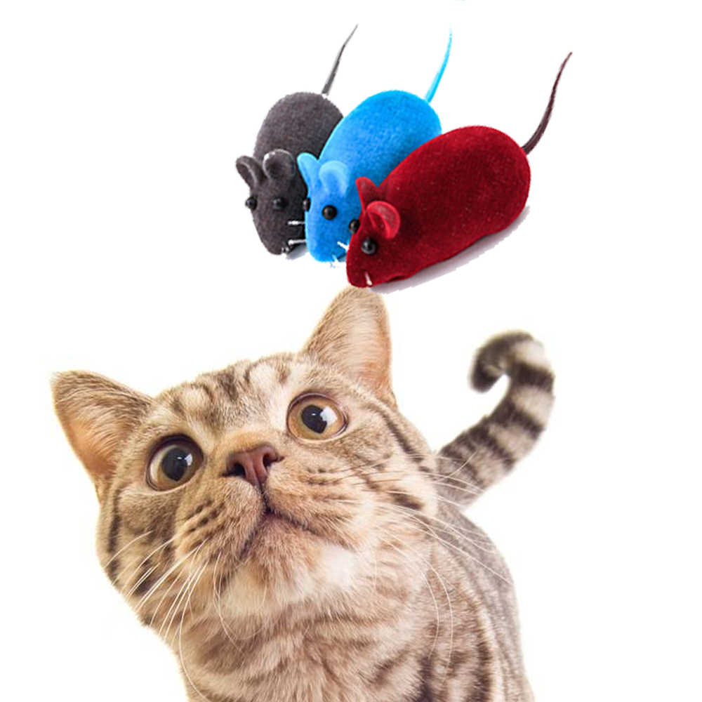 1pc Interactive Sound Plush Rubber Vinyl Mouse Pet Cat Realistic Sound Toys Flocking Mouse Funny Cat Toys Random Colors Pet Tool