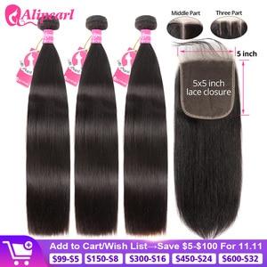 AliPearl Hair Straight Human Hair 3 Bundles With 5x5 Closure Brazilian Hair Weave 3 Bundles Remy Hair Extension Ali Pearl Hair