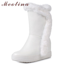 Meotina Women Boots Winter Snow Boots Real Fur Height Increasing Heel Mid Calf Boots Warm Plush Zipper Shoes Female Size 34-39 meotina genuine leather mid calf boots winter snow boots women real fur warm boots chain platform wedges high heel shoes black