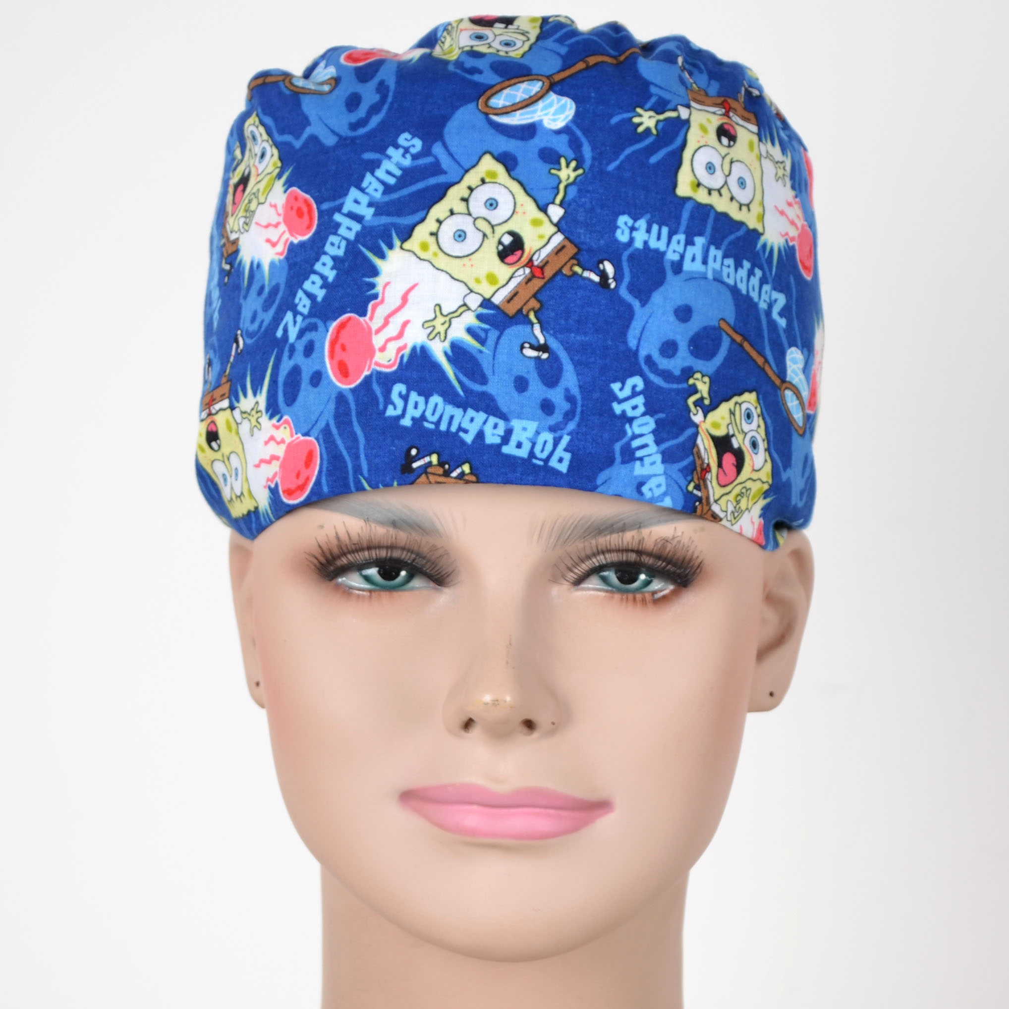 Medical Scrub Caps 100% Cotton  In Blue With Cartoon Prints Surgical Caps With 2 Sizes For Choice