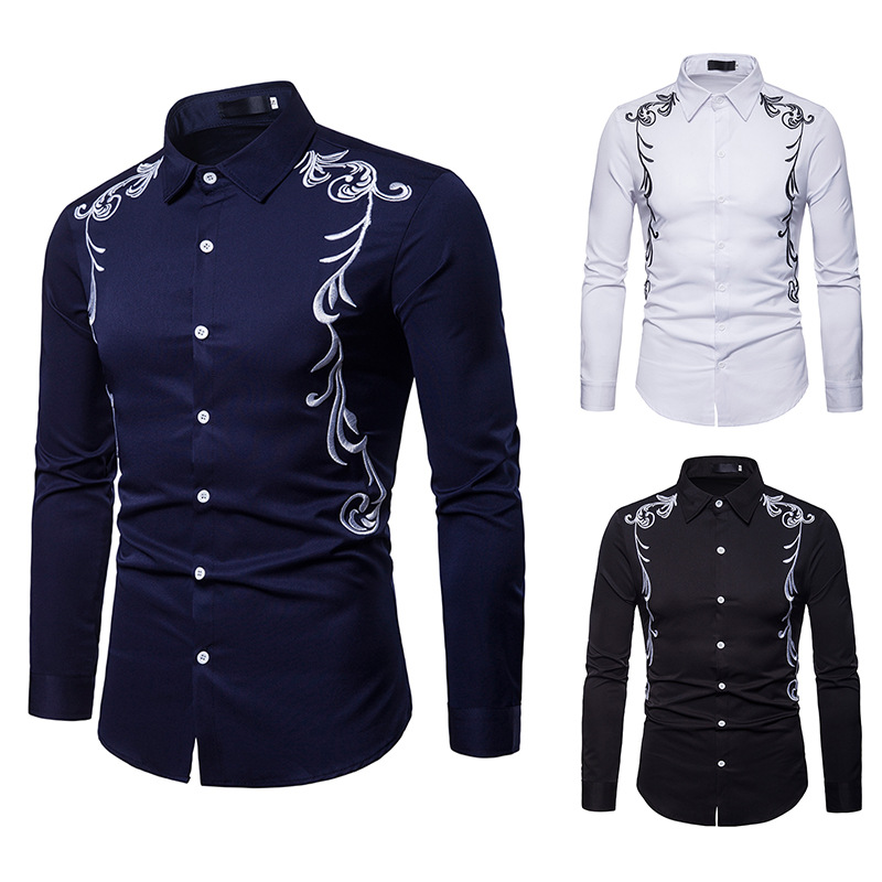 Fall New Men's Shirt Embroidered Lapel Large Size Casual Slim Long Sleeve Shirt Party Business Social Shirt Male Wear DT1802