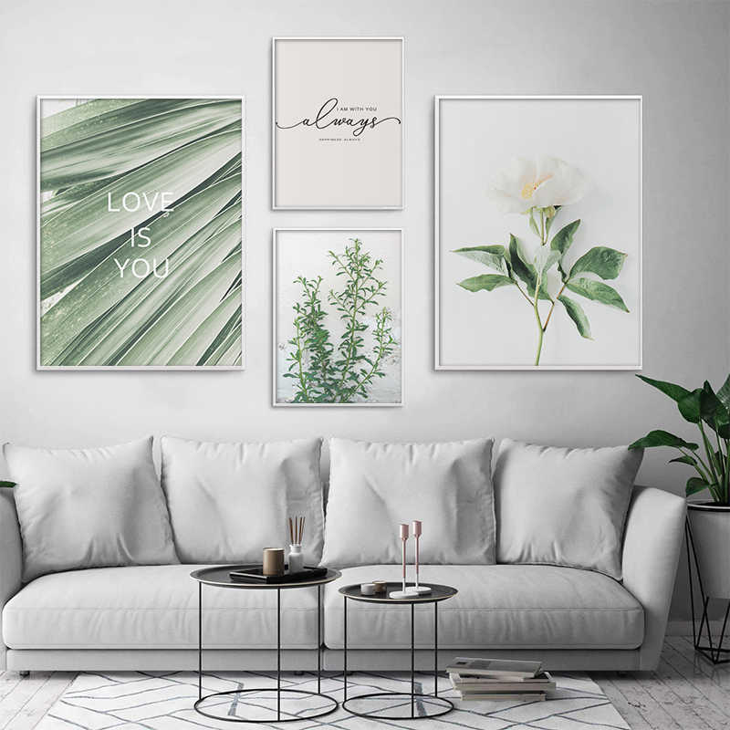 Palm Plants Nordic Poster Leaf Flowers Quotes Nature Wall Art Print Posters And Prints Canvas Painting Wall Pictures Home Decor