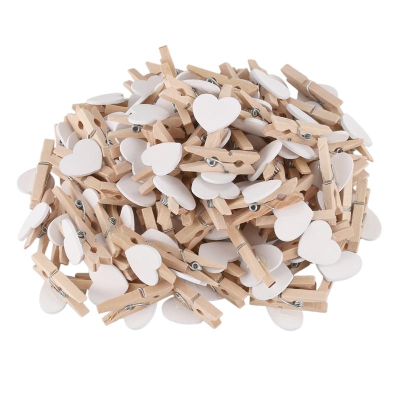 Party Photo Paper Heart Shape Crafts Mini Wooden Clip Peg 100 Pcs White