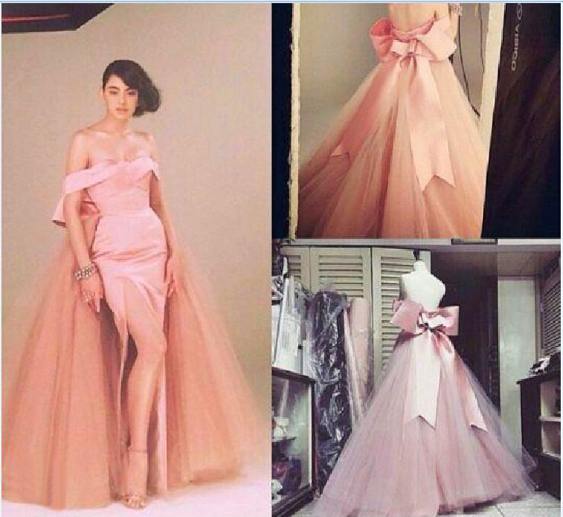 Saudi Arabic Prom With Detachable Skirt Sexy Off Shoulder Backless Side Split Big Bow Party Evening Mother Of The Bride Dresses