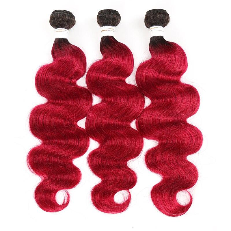 1B 99J/Burgundy Brazilian Body Wave Human Hair Weave Bundles Dark Root Ombre Red Human Hair Bundle KEMY Non-Remy Hair Extension