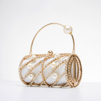 Hollow Out Diamonds Small Barrel Shaped Metal Cage Evening Clutch 2