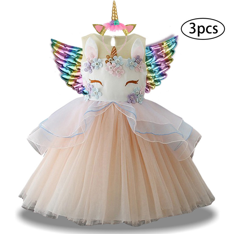 H9befded53bb94f5e8fed6e08f509e0a9v New Girls Dress 3Pcs Kids Dresses For Girl Unicorn Party Dress Christmas Carnival Costume Child Princess Dress 3 5 6 8 9 10 Year